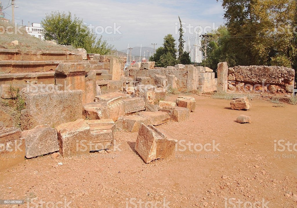 Ruins of ancient Greek theater. Fethiye Turkey stock photo