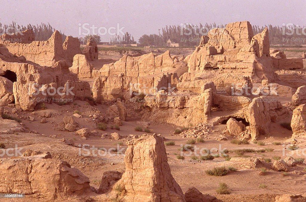 Ruins of Ancient Han Dynasty era Settlement Xinjiang China stock photo