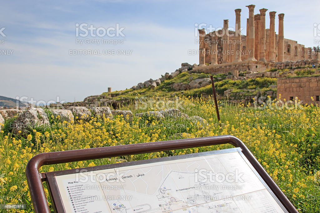 Ruins of ancient Jerash, in Jordan stock photo