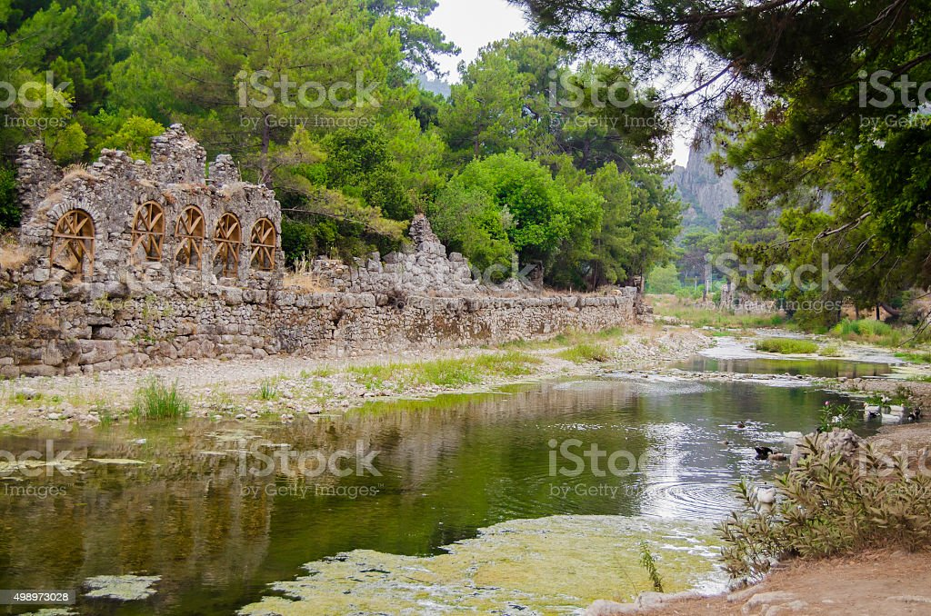 Ruins of ancient Lycian town Olympus in Turkey stock photo