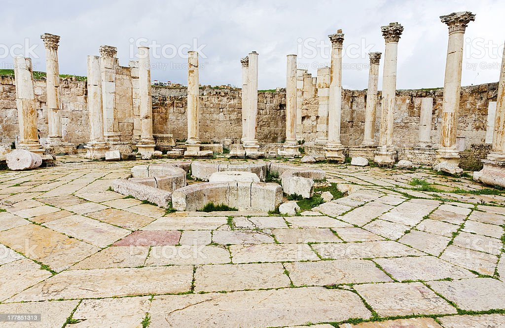 ruins of ancient market house in antique town Jerash stock photo