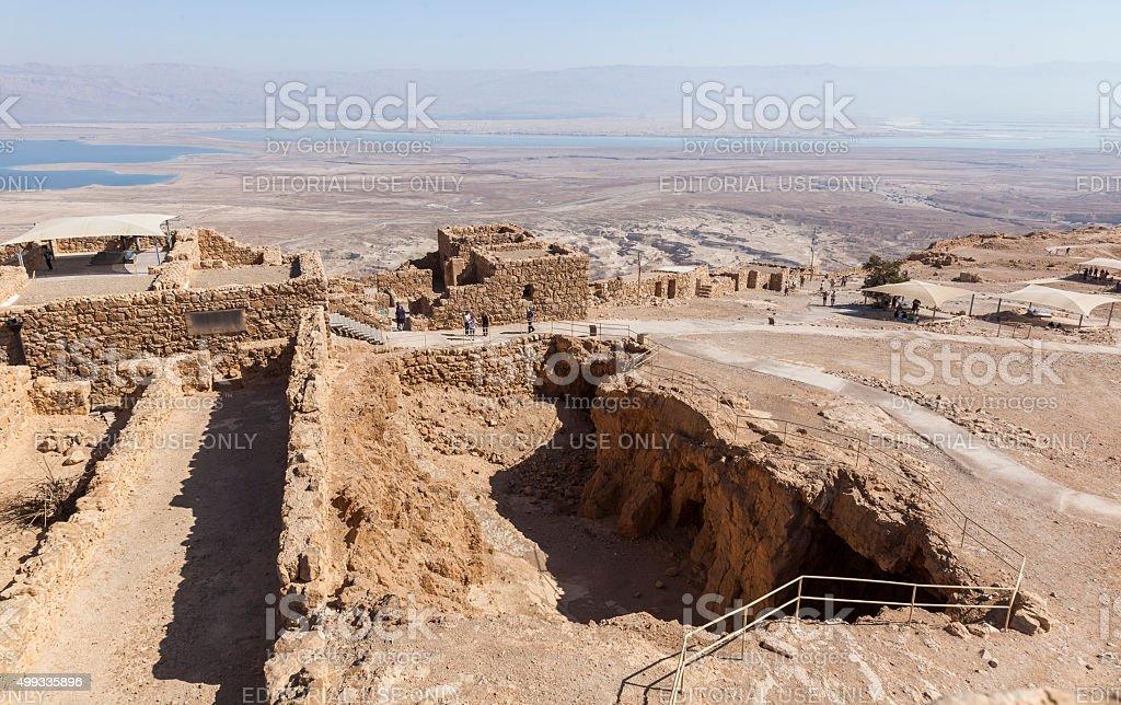 Ruins of ancient Masada fortress. Israel. stock photo