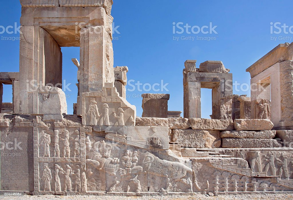 Ruins of ancient palace in Persepolis, Achaemenid Empire stock photo