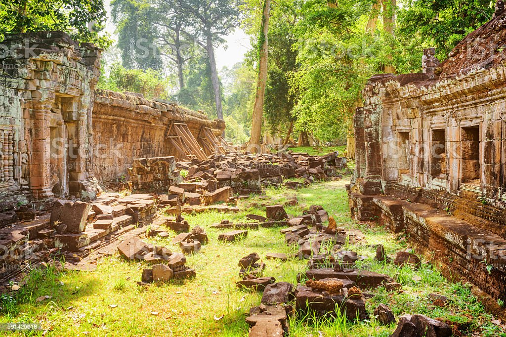 Ruins of ancient Preah Khan temple in Angkor stock photo