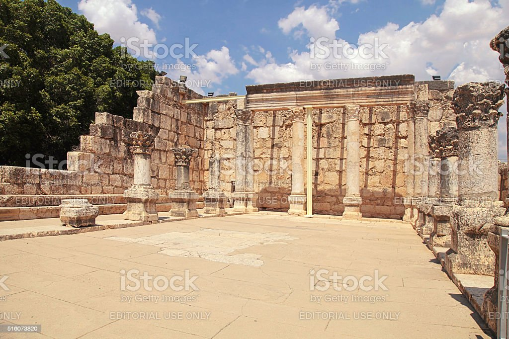 Ruins of ancient synagogue in Capernaum, Israel. stock photo