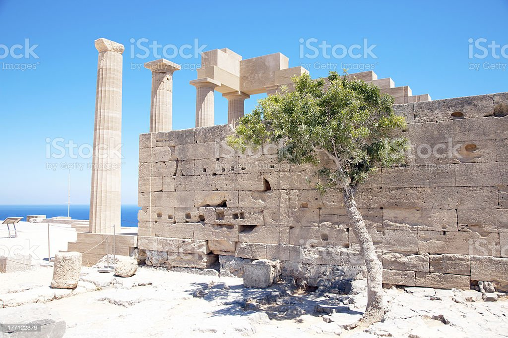 Ruins of ancient temple. Lindos. Rhodes island. Greece royalty-free stock photo