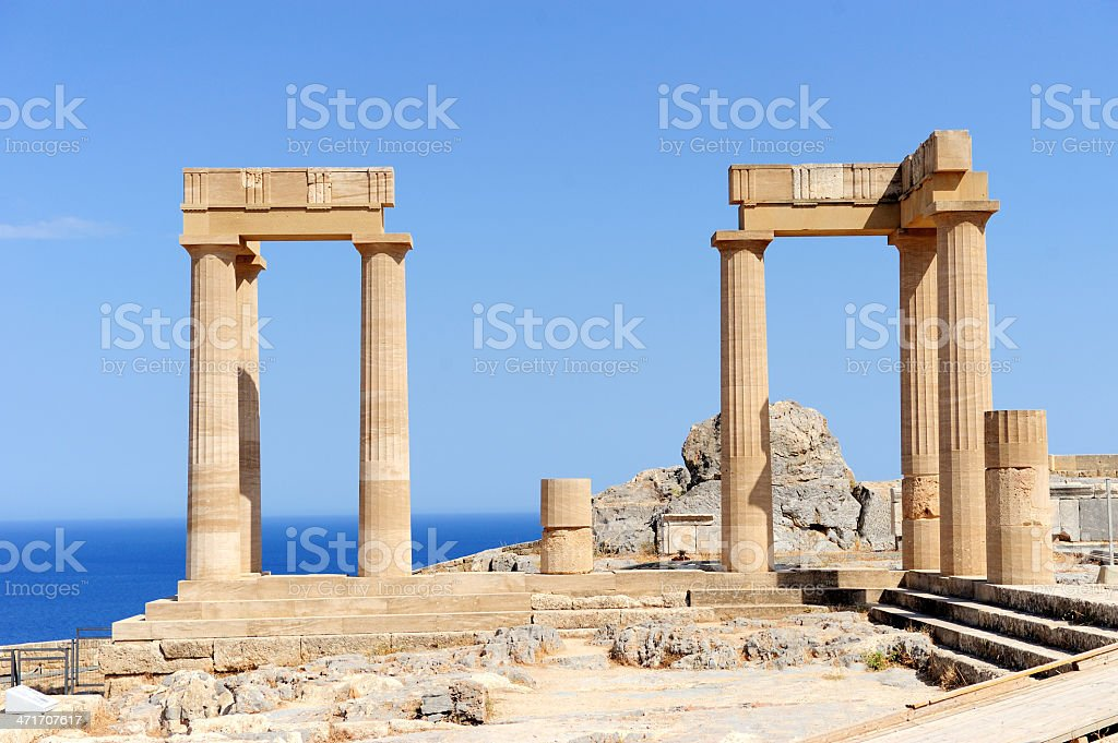Ruins of ancient temple stock photo