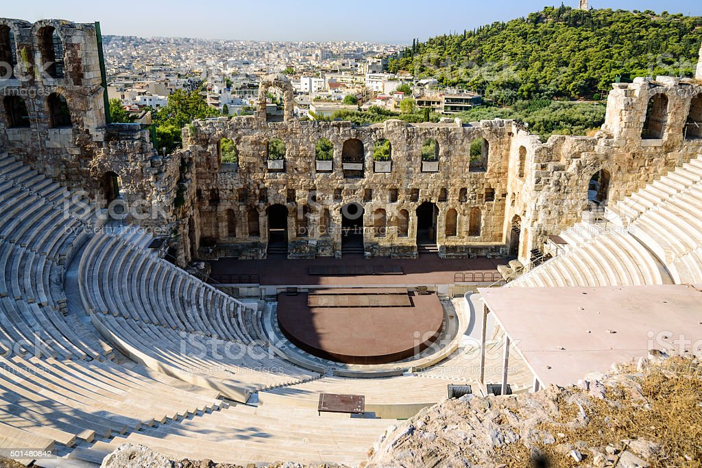 Ruins of ancient theater under Acropolis of Athens, Greece stock photo