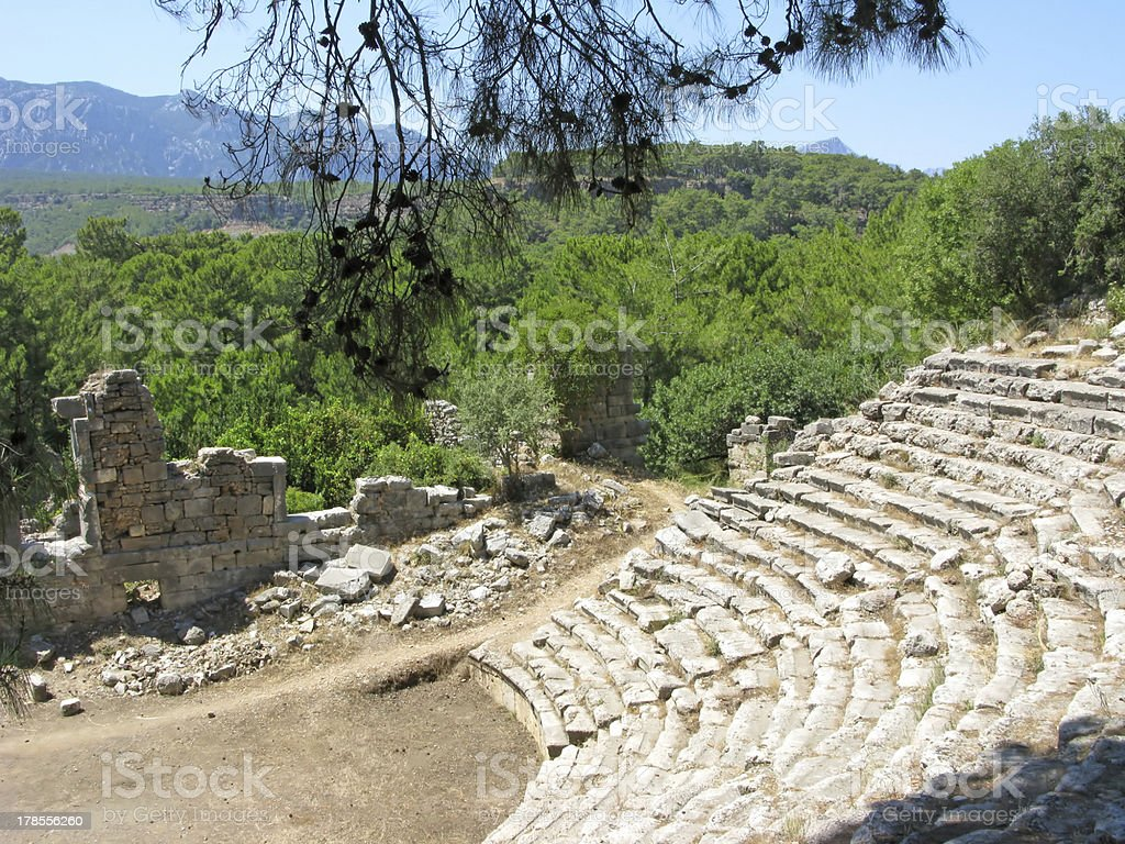 ruins of ancient theatre stock photo