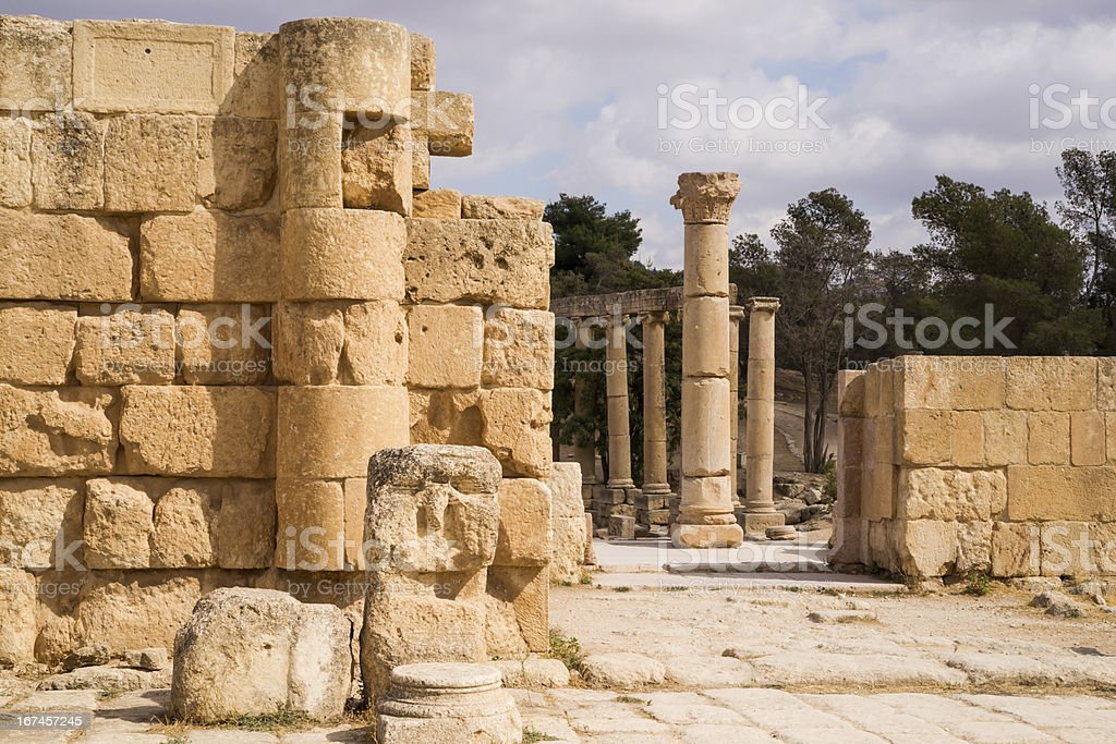 Ruins of antique Gerasa royalty-free stock photo