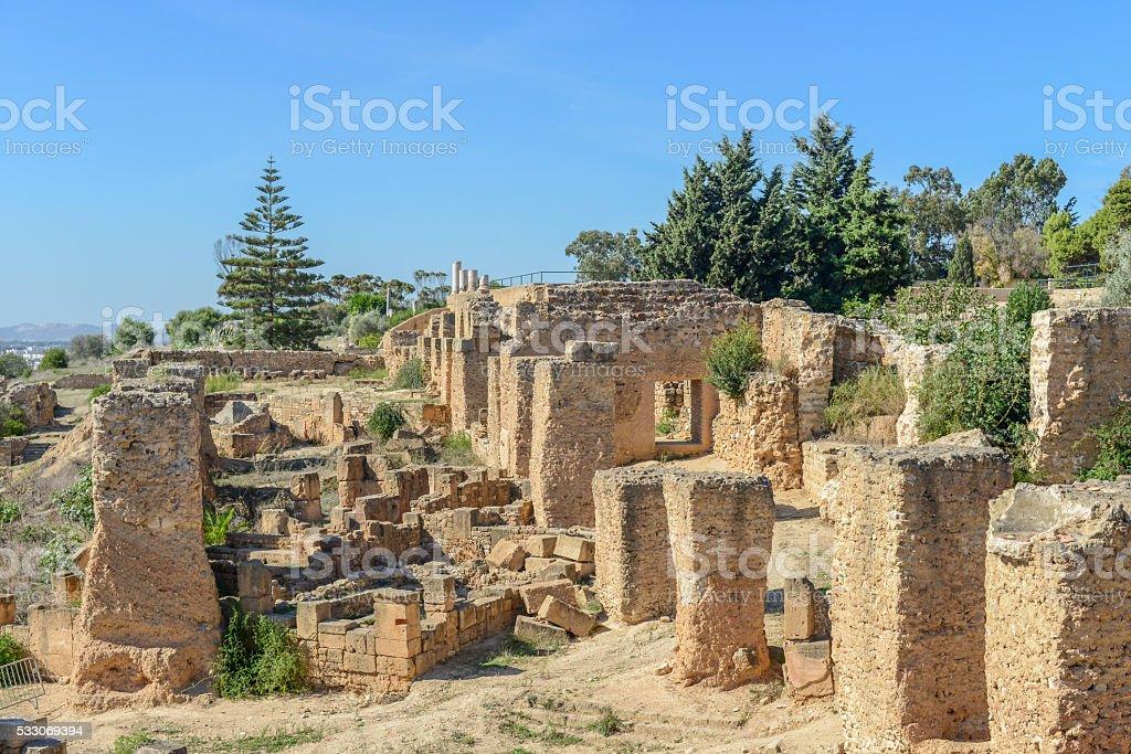 Ruins of Antonine Baths at Carthage, Tunisia stock photo