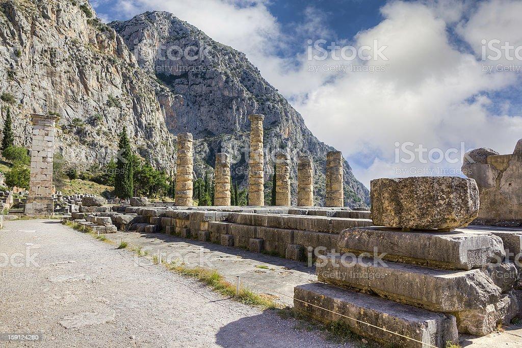Ruins of Apollo temple, Delphi, Greece stock photo