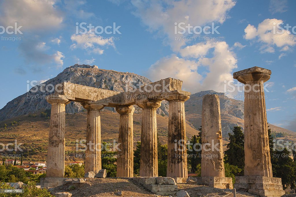 Ruins of Appollo temple in Corinth stock photo