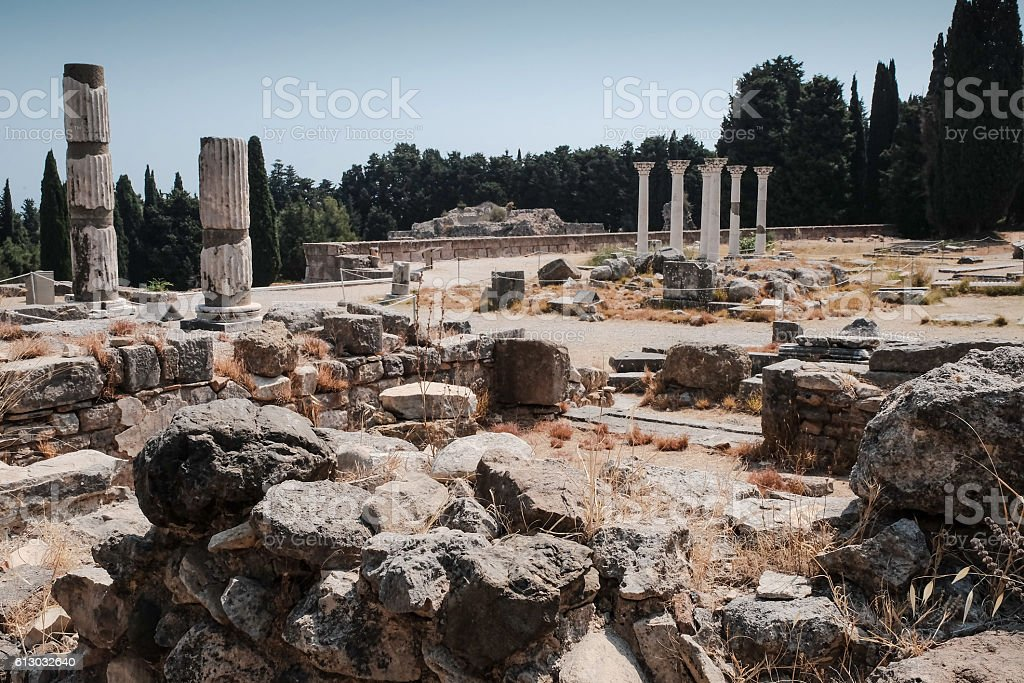 ruins of asclepeion in kos greece,  ancient greek temple dedicat stock photo