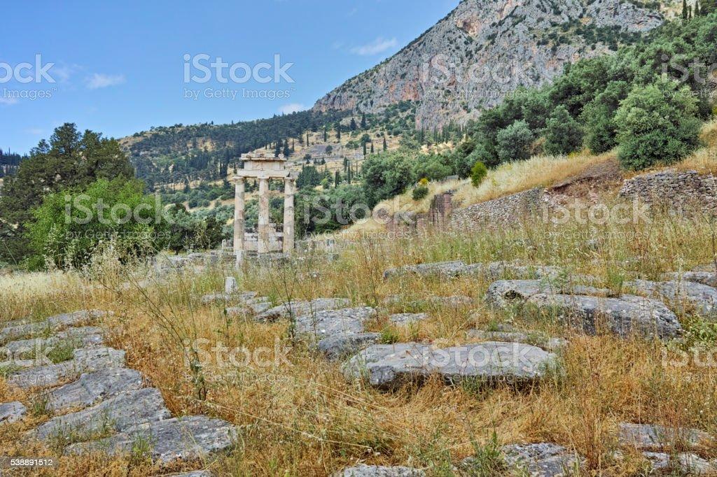 Ruins of Athena Pronaia Sanctuary in Delphi, Central Greece stock photo