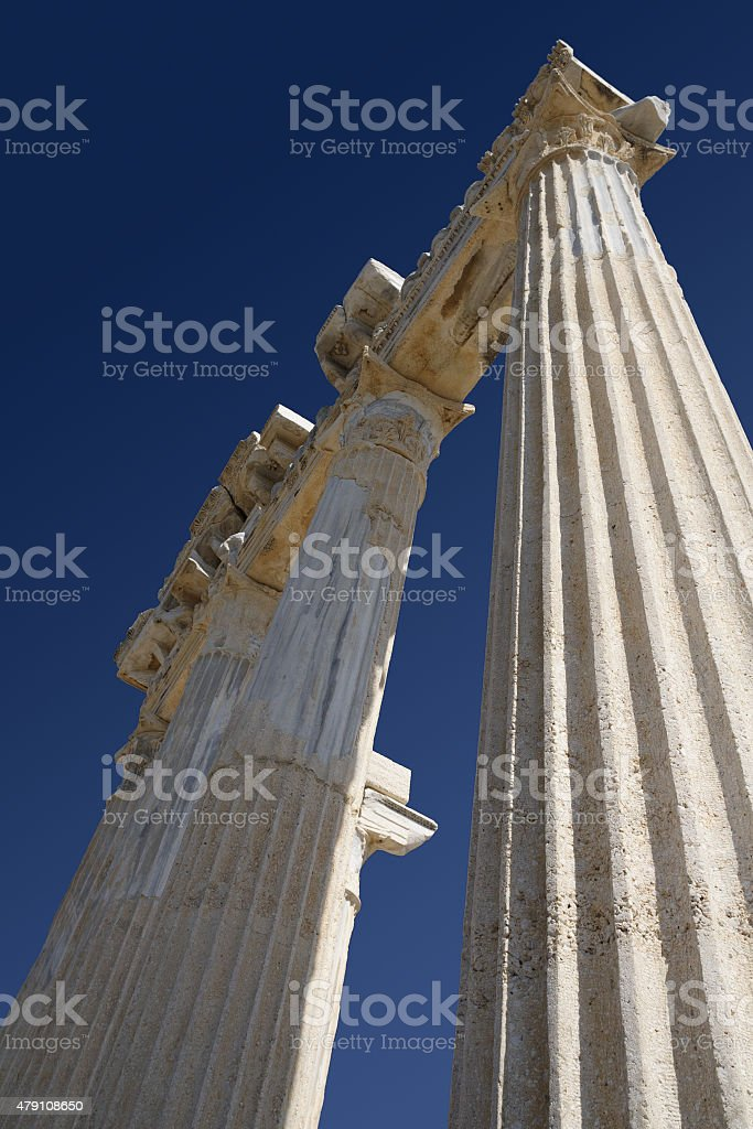 Ruins of Athena temple in Side Turkey on the coast stock photo