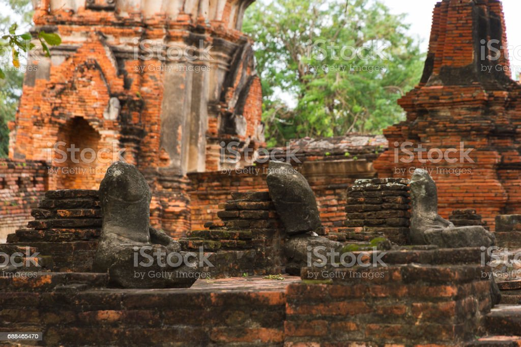 Ruins of Ayutthaya, Historic Place of Thailand stock photo