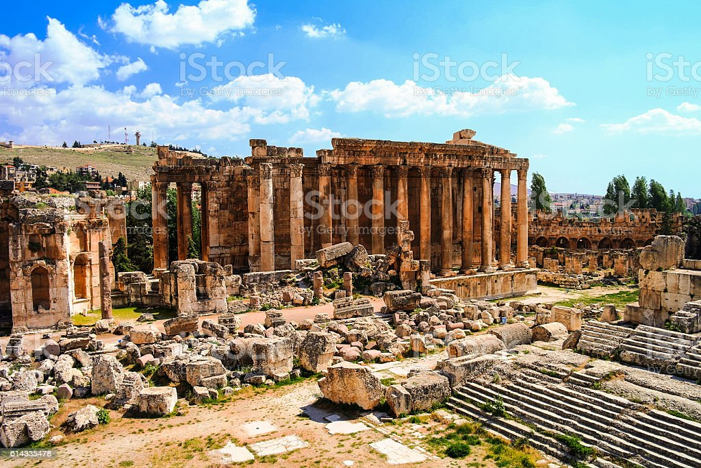 Ruins of Bacchus temple. Baalbek, Lebanon stock photo