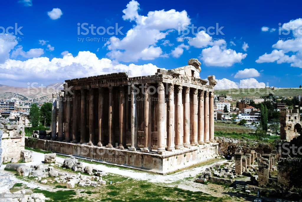 Ruins of Bacchus temple in Baalbek, Bekaa valley Lebanon stock photo