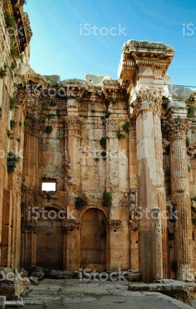 Ruins of Bacchus temple in Baalbek, Bekaa valley, Lebanon stock photo