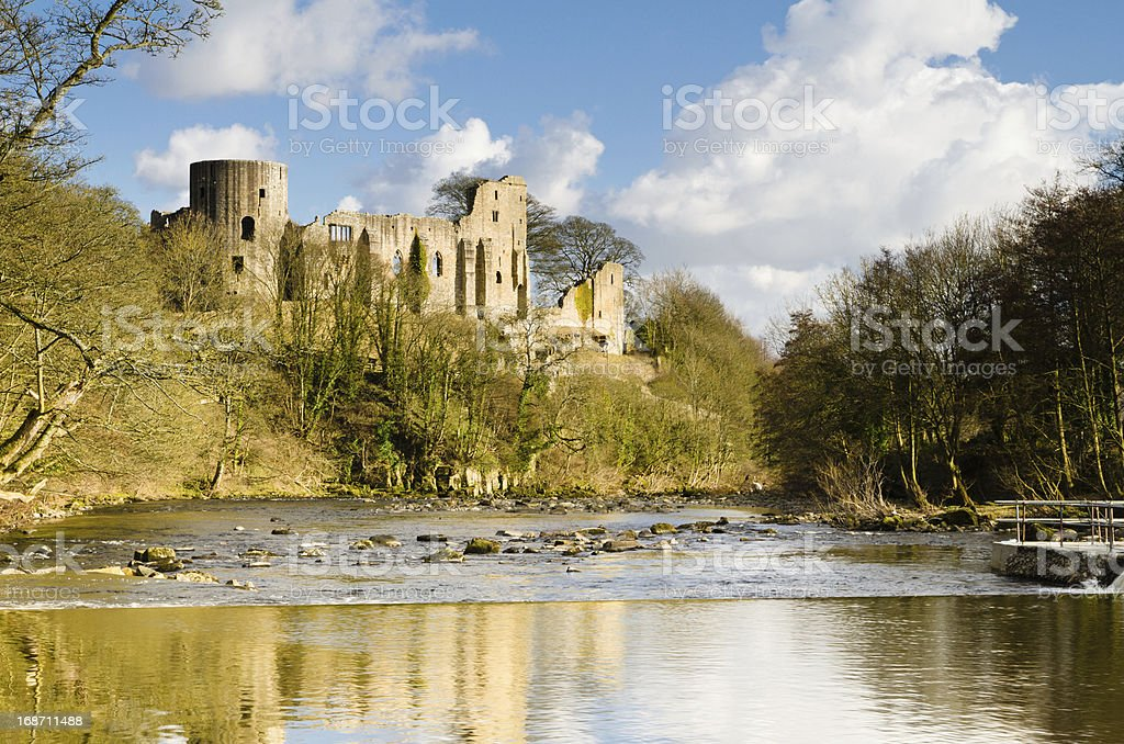 Ruins of Barnard Castle stock photo
