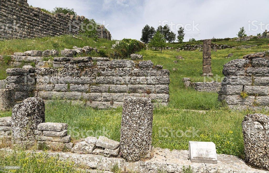 Ruins of Bouleuterion in ancient Dodona, Epirus, Greece stock photo