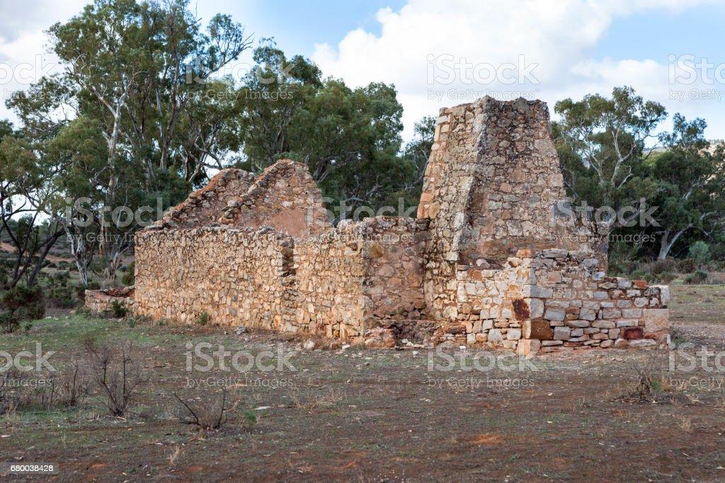 Ruins of building at Kanyaka Station,South Australia stock photo