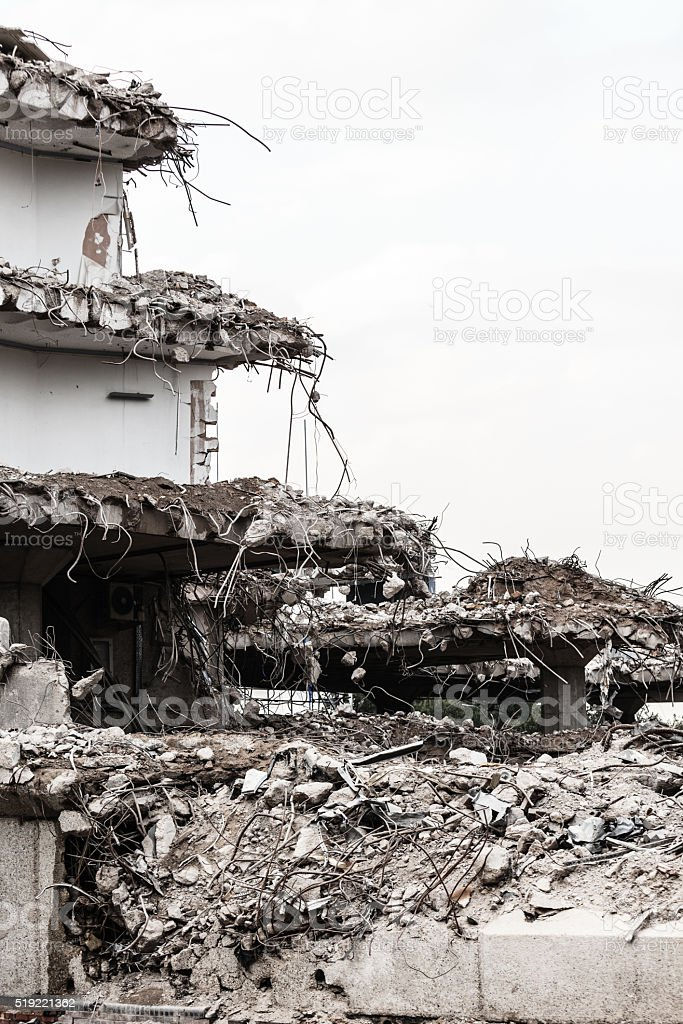 Ruins of building under destruction, urban scene. stock photo