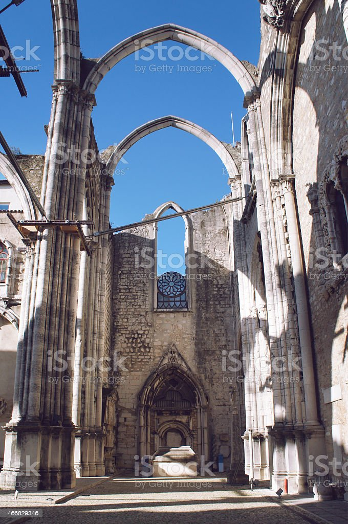 Ruins of Carmo Convent, Lisbon stock photo