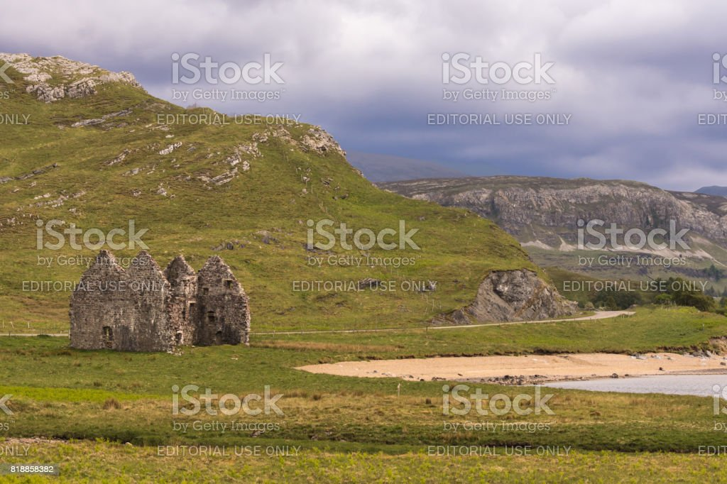 Ruins of Castle Ardvreck farm, Scotland. stock photo