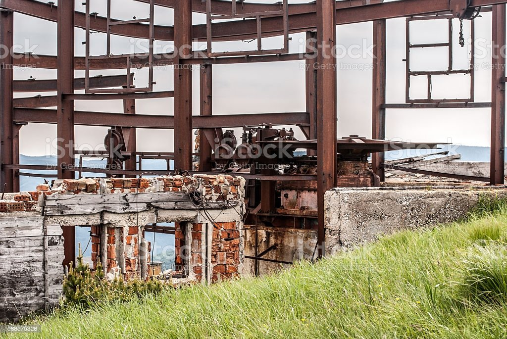 ruins of chairlift top station in Velka Fatra mountains stock photo