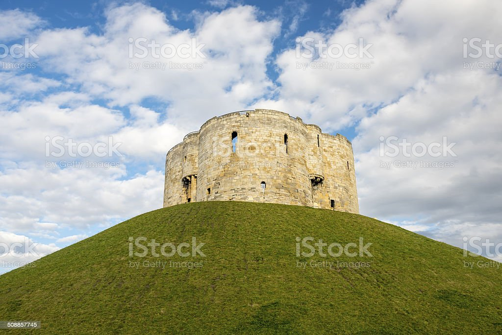 Ruins of Clifford's Tower, York stock photo