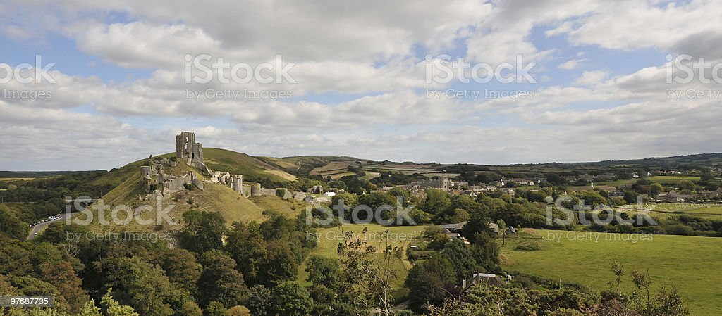 Ruins of Corfe Castle in Dorset, England royalty-free stock photo