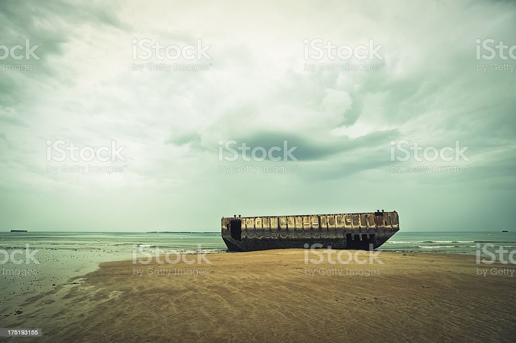 Ruins of D Day Mulberry Harbour in Normandy stock photo