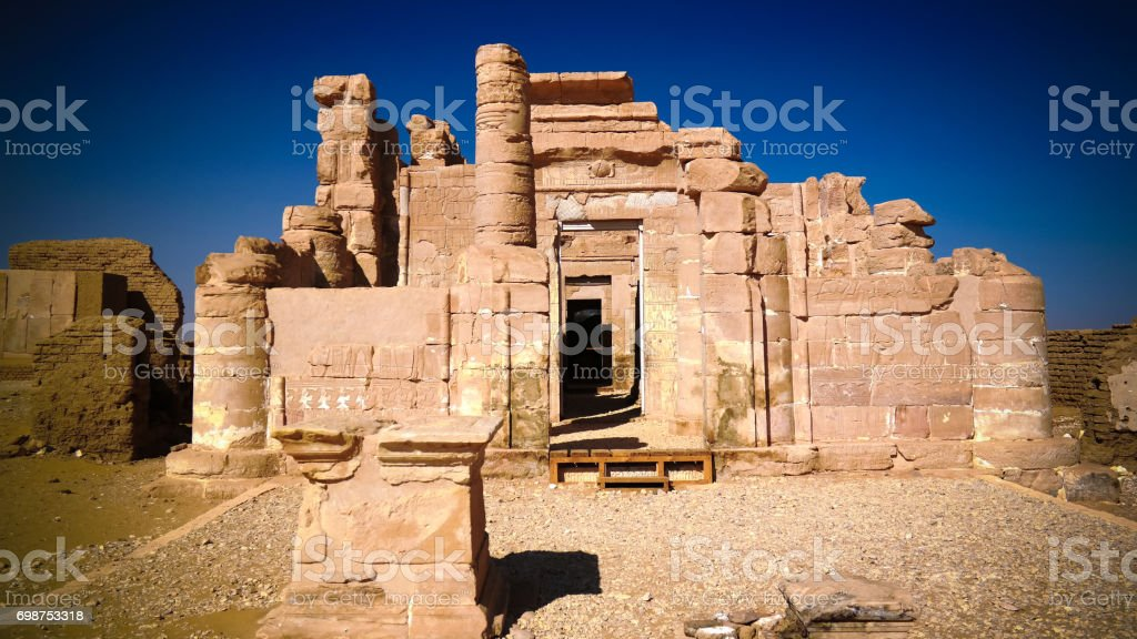 Ruins of Deir el-Haggar temple, Kharga oasis, Egypt stock photo