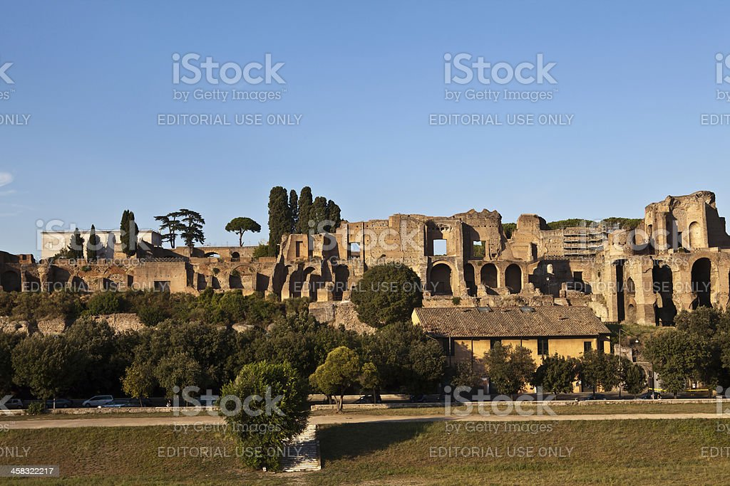 ruins of Domus Augustana on Palatine Hill stock photo