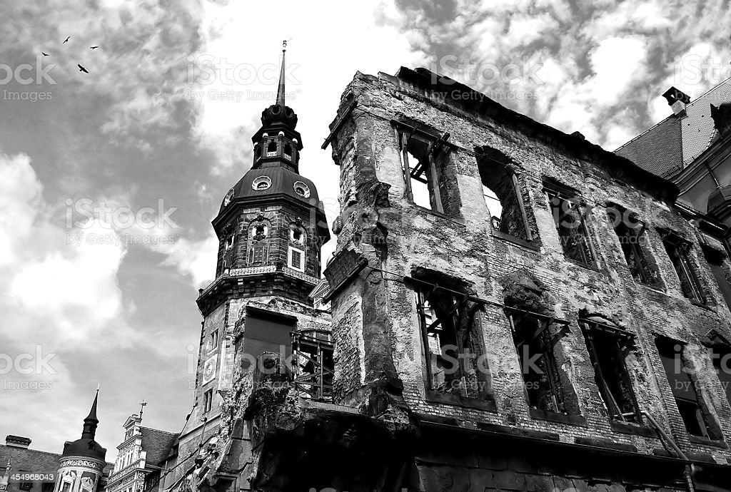 Ruins of Dresden. stock photo