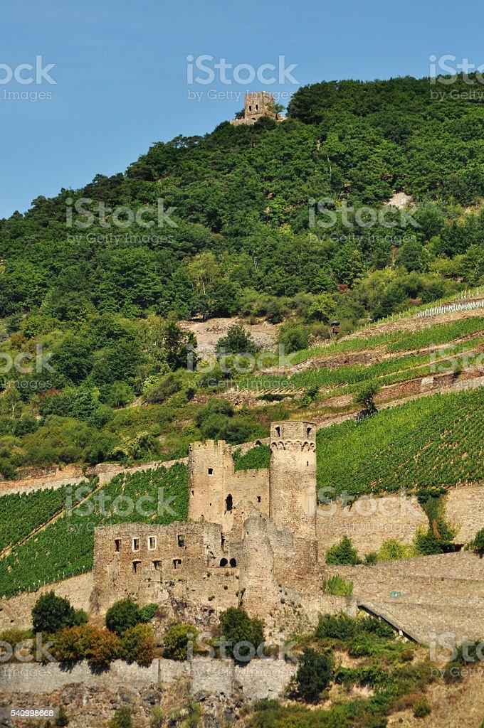 Ruins of Ehrenfels Castle, Rhineland-Palatinate, Germany,2015 stock photo