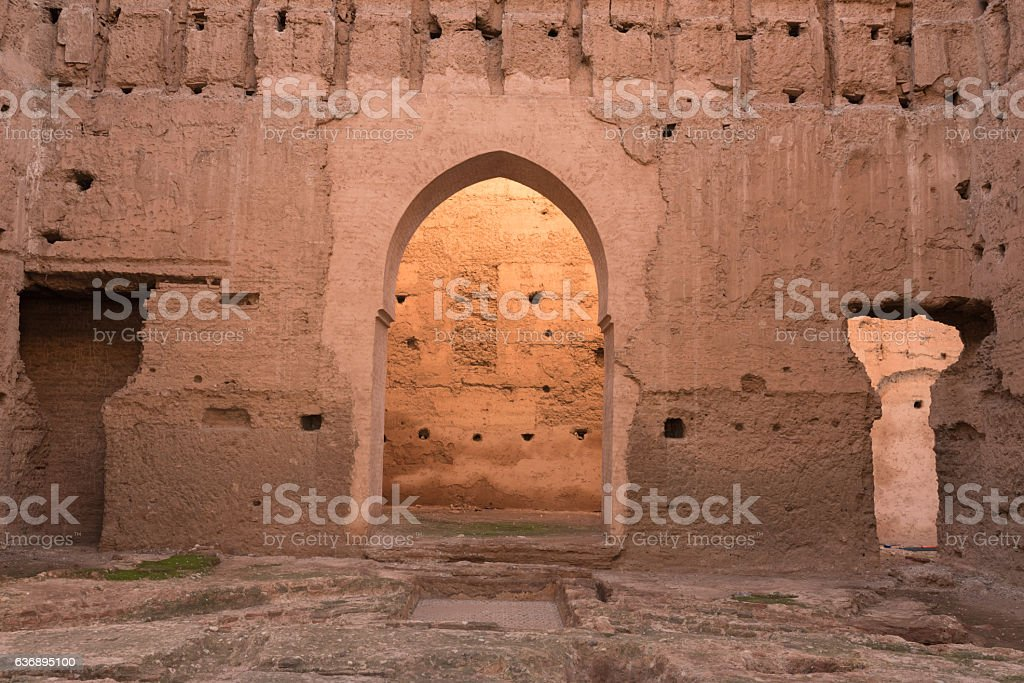 Ruins of El Badi Palace, Marrakech, Morocco. stock photo