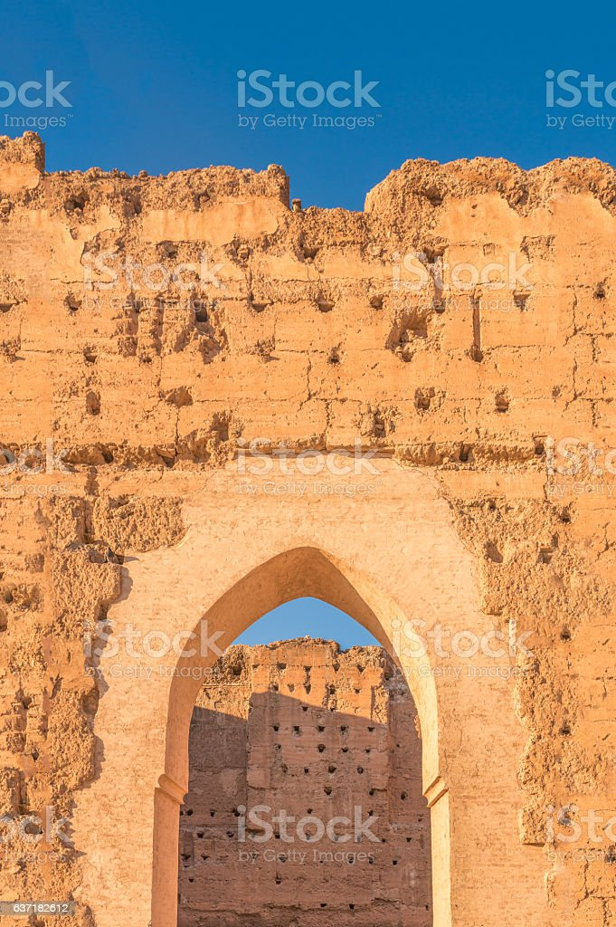 Ruins of El Badi Palace, Marrakech, Morocco stock photo