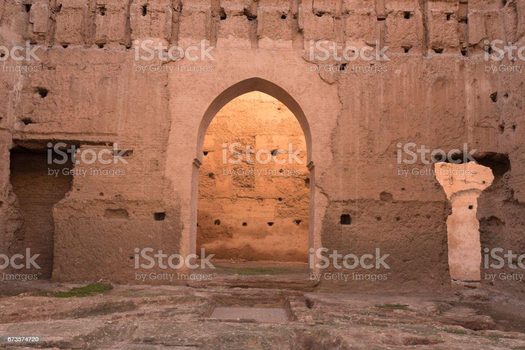 Ruins of El Badi Palace, Marrakech, Morocco. stock photo
