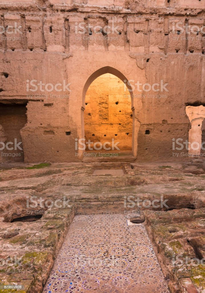 Ruins of El Badi Palace with the Atlas mountains in the background, Marrakech, Morocco stock photo