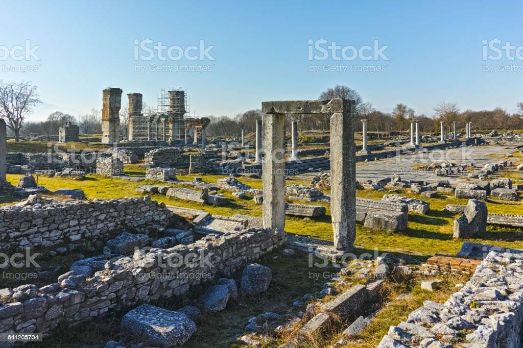 Ruins of entrance in the archeological area of ancient Philippi, Greece stock photo