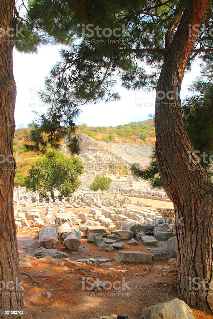 ruins of ephesus in kusadasi turkey stock photo