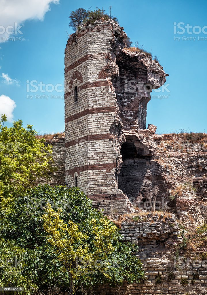 Ruins of famous ancient walls of Constantinople, Istanbul stock photo