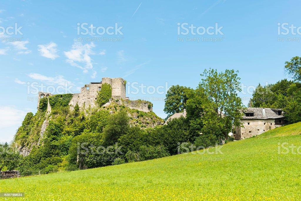 Ruins of Finkenstein castle in Austria stock photo