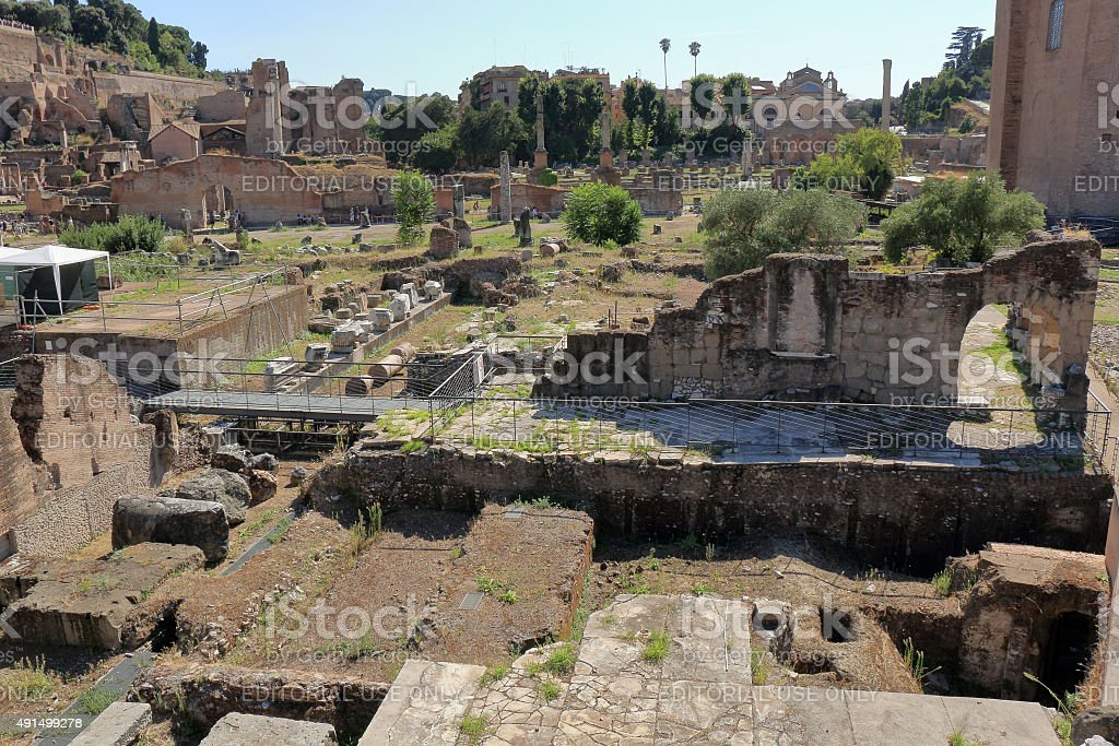 Ruins of Foro di Nerva in Rome, Italy stock photo