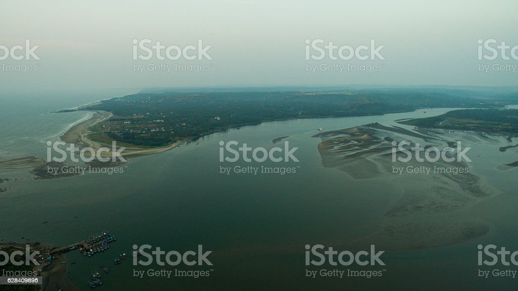 Ruins of fort Chapora. Goa state, India. Aerial stock photo