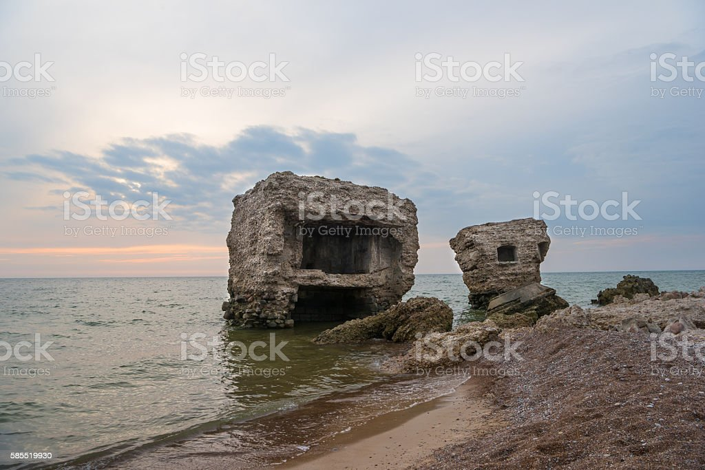 Ruins of fortifications stock photo