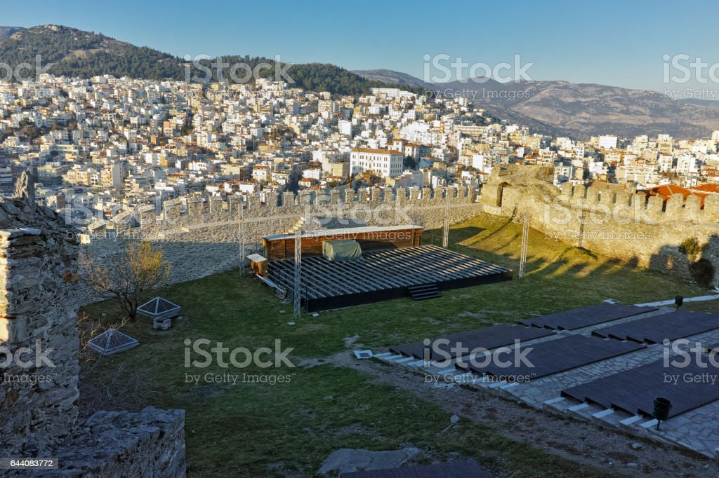 Ruins of fortress and panorama to Kavala, Greece stock photo